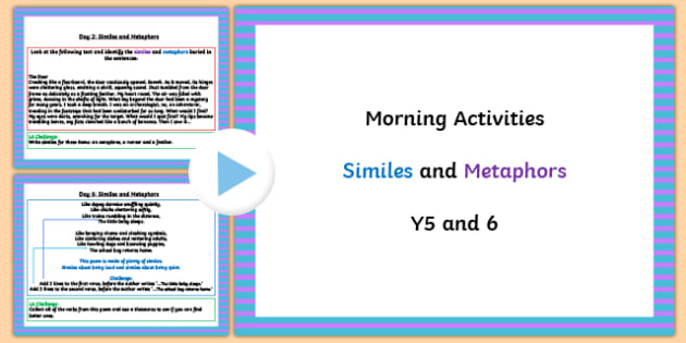 Year 5 and 6 English Morning Activities Similes and Metaphors