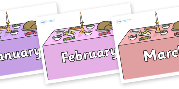 Months of the Year on Christmas Dinner (Tables) - Months of the Year, Months poster, Months display, display, poster, frieze, Months, month, January, February, March, April, May, June, July, August, September