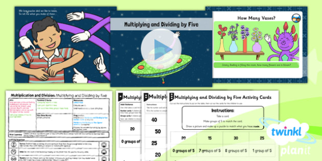 PlanIt Y1 Multiplication and Division Lesson Pack Multiplying and Dividing by Five (3) - grouping, groups of five, same size groups, groups from a given total, multiplying by five, dividing by five, five times table, 5 x table, planning