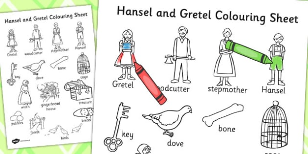 Hansel and Gretel Words Colouring Sheet - colour, hansel, gretel