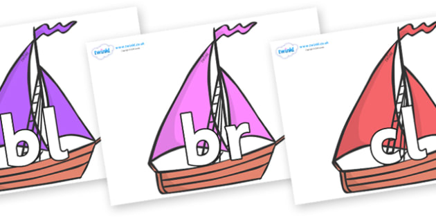 Initial Letter Blends on Sailing Boats to Support Teaching on Where the Wild Things Are - Initial Letters, initial letter, letter blend, letter blends, consonant, consonants, digraph, trigraph, literacy, alphabet, letters, foundation stage literacy