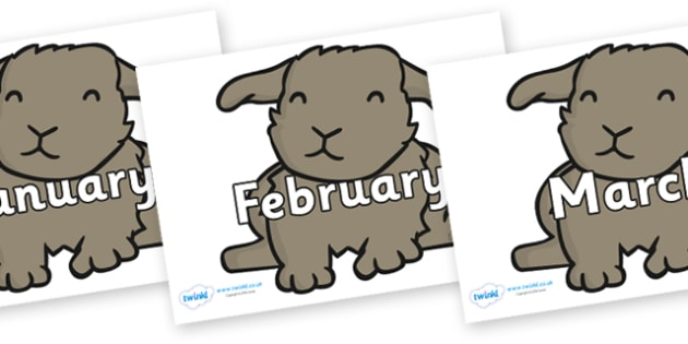 Months of the Year on Rabbits - Months of the Year, Months poster, Months display, display, poster, frieze, Months, month, January, February, March, April, May, June, July, August, September