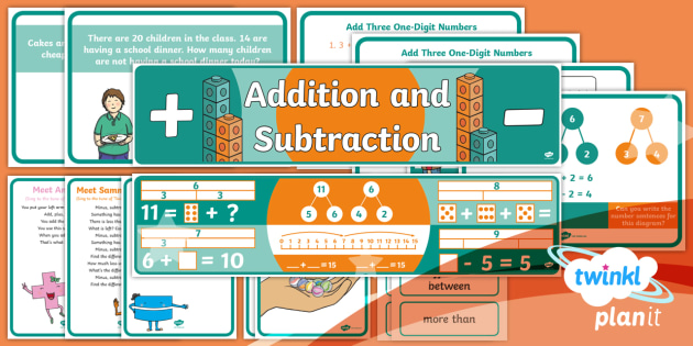 PlanIt Y1 Addition and Subtraction Display Pack - posters, maths display, banners, themed maths, classroom display, adding, add, subtract, take away,