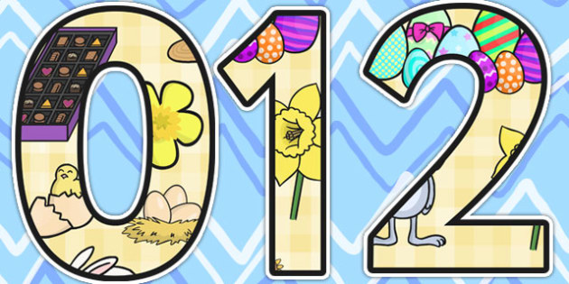 Easter Themed A4 Display Numbers - easter, religion, RE, numbers