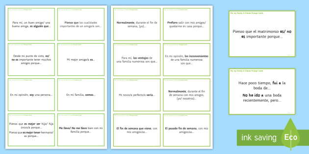 General Conversation: Me, My Family & Friends Question Prompt Cards Spanish - Spanish Speaking Practice, me, my family, friends, prompt cards