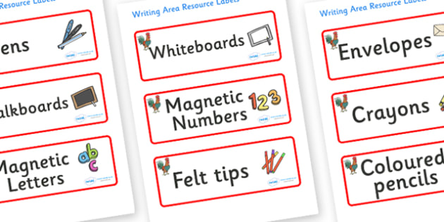 Rooster Themed Editable Writing Area Resource Labels - Themed writing resource labels, literacy area labels, writing area resources, Label template, Resource Label, Name Labels, Editable Labels, Drawer Labels, KS1 Labels, Foundation Labels, Foundatio