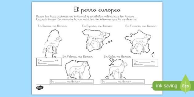 Ficha de actividad - El perro europeo