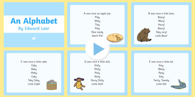 An Alphabet by Edward Lear Poem PowerPoint
