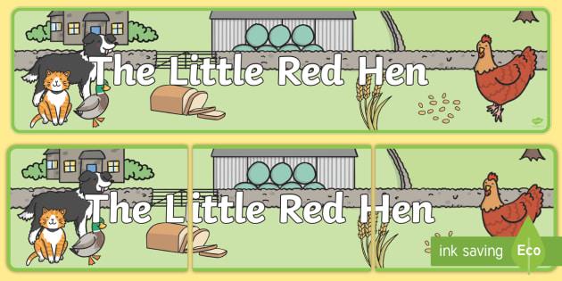 Little Red Hen Display Banner -  Little Red Hen, display banner, A4, display, Traditional tales, tale, fairy tale, little red hen, cat, dog, horse, grain, wheat, flour, bread, no I, I will