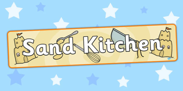 Sand Kitchen Display Banner - banners, displays, kitchens, messy