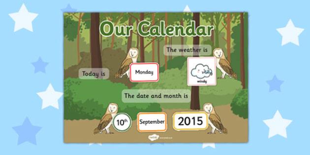 Owl Themed Display Calendar - owl, display, calendar, themed