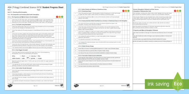 AQA (Trilogy) Unit 5.9 Chemistry of the Atmosphere Student Progress Sheet