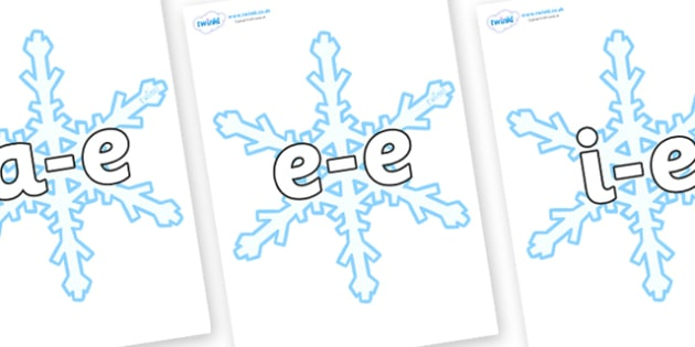 Modifying E Letters on Snowflake - Modifying E, letters, modify, Phase 5, Phase five, alternative spellings for phonemes, DfES letters and Sounds