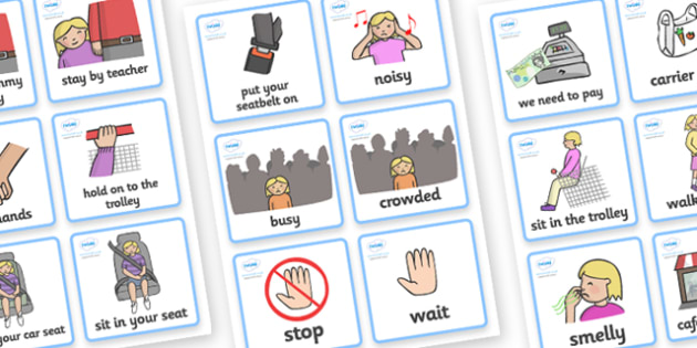 SEN Communication Cards Out and About (Girl) - communication cards, out and about, education, home school, child development, children activities, free, kids, special needs