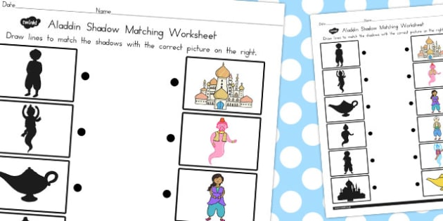 Aladdin Shadow Matching Worksheet - worksheets, match, activity