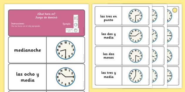 Telling the Time Dominoes Spanish - time, spanish, espanol, spain, EAL, clocks, analogue, half past, o'clock, quarter to, quarter past