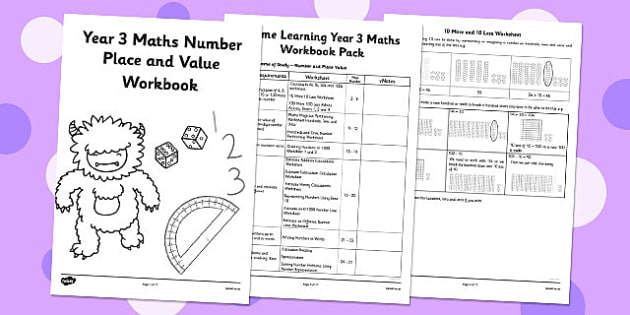 Year 3 Maths Number Place and Value Workbook - Number and Place Value