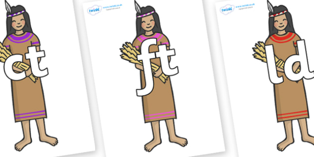 Final Letter Blends on Native American - Final Letters, final letter, letter blend, letter blends, consonant, consonants, digraph, trigraph, literacy, alphabet, letters, foundation stage literacy