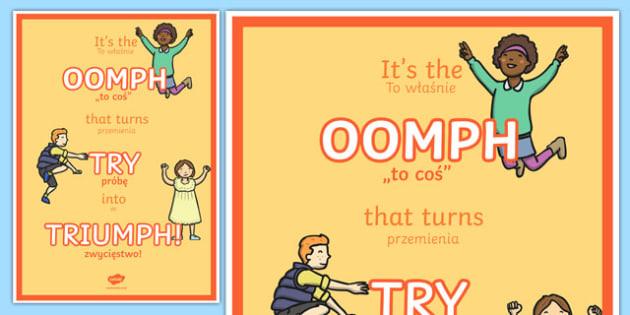 Triumph Motivational Poster Polish Translation - polish, motivational, poster, triumph