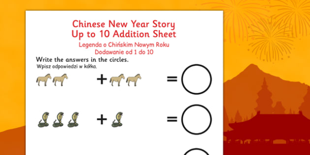 Chinese New Year Story Up to 10 Addition Sheet Polish Translation - polish, chinese new year, story, up to, 10, addition, sheet