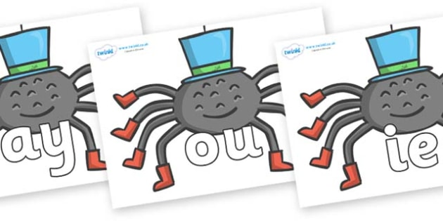 Phase 5 Phonemes on Spiders - Phonemes, phoneme, Phase 5, Phase five, Foundation, Literacy, Letters and Sounds, DfES, display