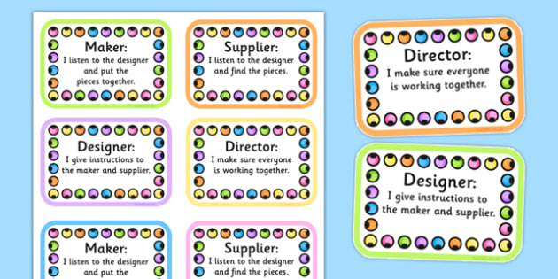Jewellery Therapy Job Badges - lego therapy, speaking and listening, peer interaction, autism, giving instructions, social skills