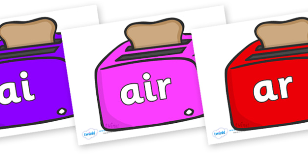 Phase 3 Phonemes on Toasters - Phonemes, phoneme, Phase 3, Phase three, Foundation, Literacy, Letters and Sounds, DfES, display