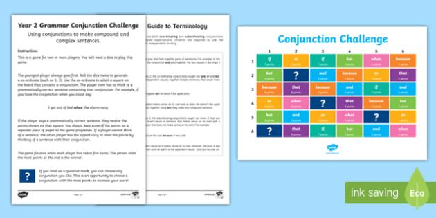 Year 2 Grammar Conjunctions Board Game