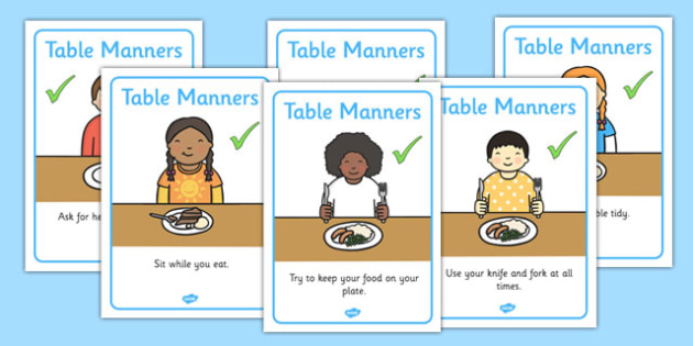 Table Manners Rules Display Posters SEN - table manners, display