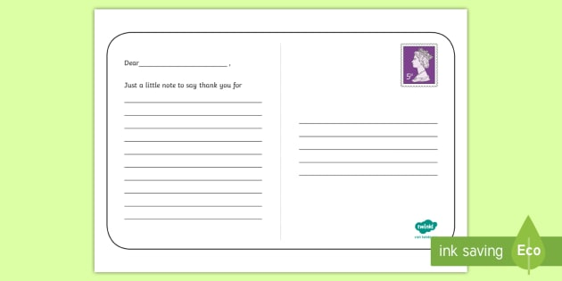 KS1 Thank You Postcard Writing Template - End of the School Year Activities