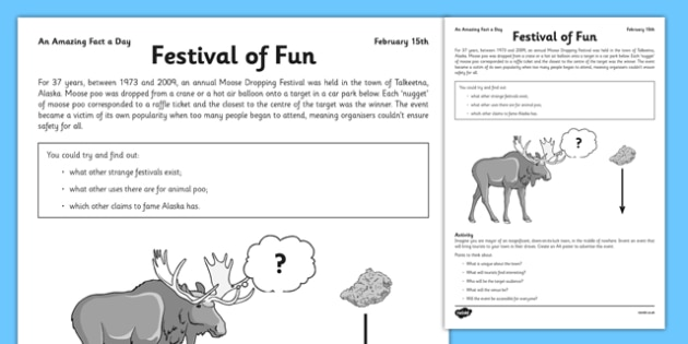 Moose Dropping Festival Amazing Fact Activity Sheet - fun, design a festival, worksheet