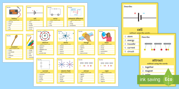 Electricity Can You Guess? Cards - Electricity, Current, Circuit, Component