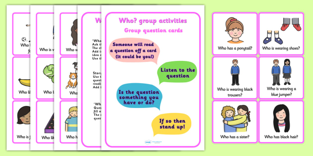 Who Question Group Activities - questions, question games, who