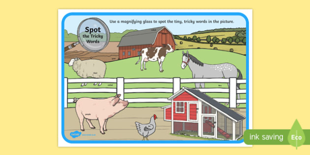 Phase 5 Tricky Words Farm Scene Magnifying Glass Activity Sheet, worksheet
