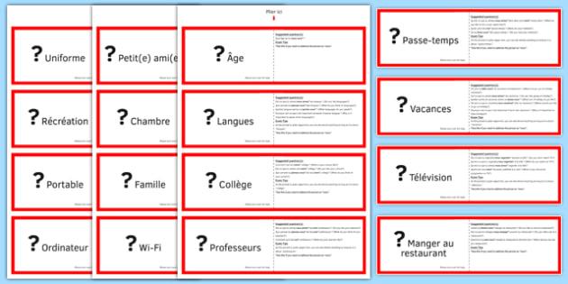 GCSE Français Poser des questions (Mélange) Jeu de cartes - french, Asking, ask, questions, cards, cartes, speaking
