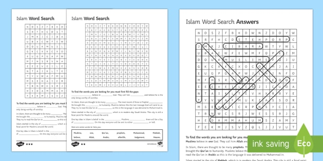 Islamic Beliefs Key Words Differentiated Word Search - Islamic Beliefs GCSE Material, islam, gcse rs activities, re