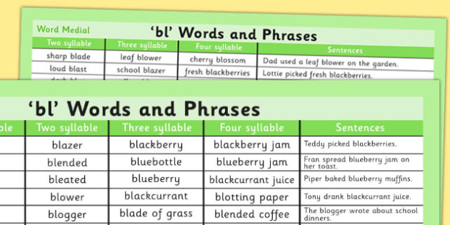 BL Word List - bl, word list, word, list, sounds, sen, special education
