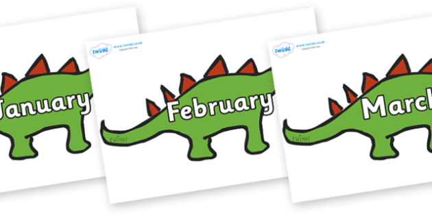 Months of the Year on Dinosaurs - Months of the Year, Months poster, Months display, display, poster, frieze, Months, month, January, February, March, April, May, June, July, August, September