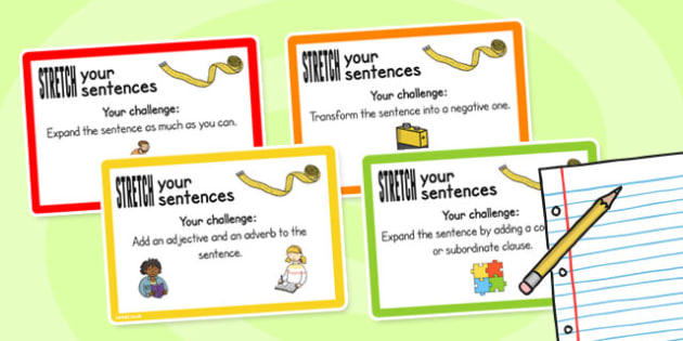 Stretch a Sentence Challenge Cards - challenge cards, sentence