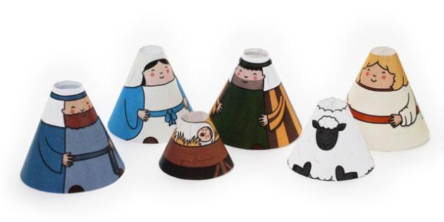 Nativity Cone People - nativity, cone, people, craft, paper