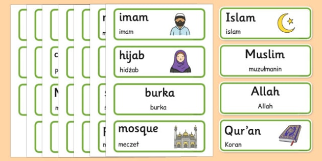 Islam Word Cards Polish Translation - polish, islam, word cards, word, cards