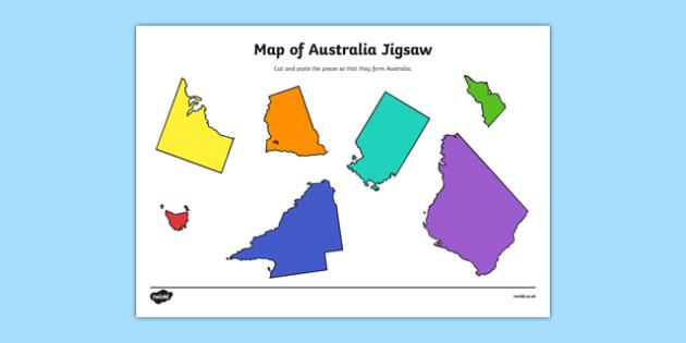 Map of Australia Jigsaw Cut and Paste Activity - geography, map, fine motor skills, identify, nation, citizenship, ks2, juniors