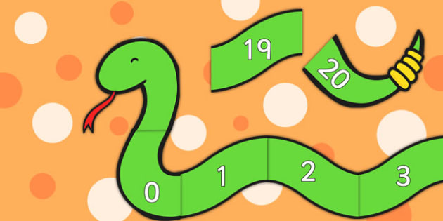 Numbers 0-20 on Counting Snake - Foundation stage numeracy, Number recognition, Number flashcards, snake, counting