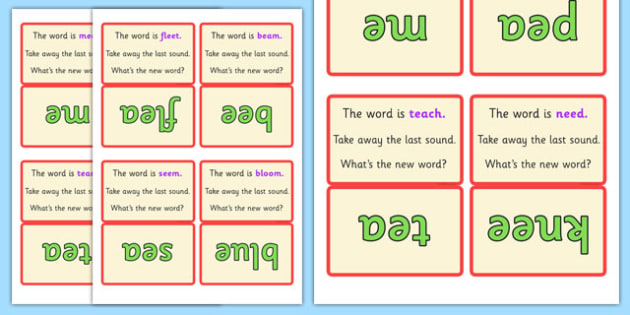 Final Phoneme Deletion Script Cards Set 2 - phoneme, final, cards