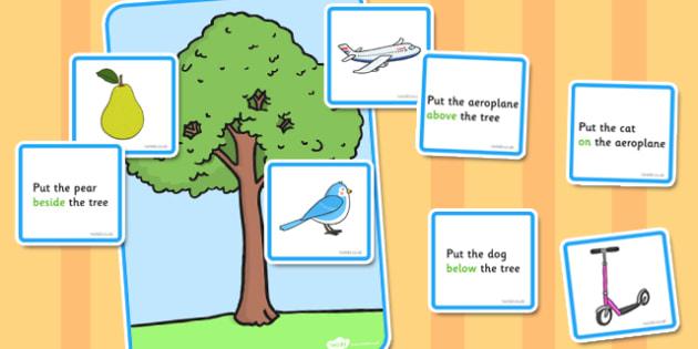 Preposition Tree Game - SEN, visual aid, position, game, SEN game, prepositions