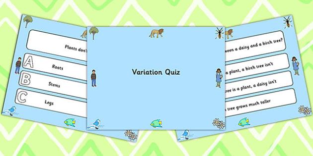 Science Variation PowerPoint Quiz - science, variation, quiz