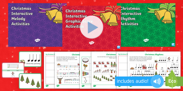 Christmas Composition Resource Pack - Music, composing, Christmas, instruments, sound, pitch, rhythm, melody, graphic score.