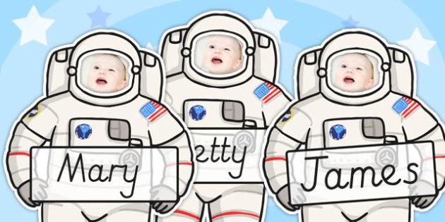Editable Astronaut Photo Self Registration Labels - astronaut, self reg