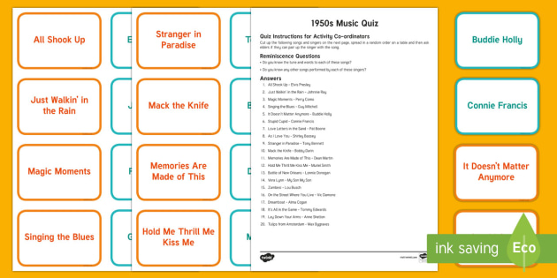 1950s Music Quiz Matching Cards - Singing, Tips, Elders, Activity Co-ordinators, Care Homes, Elderly Care, Quiz, Match, Singer, Song,