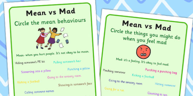 Mean vs Mad Circle The Answer Worksheet - worksheets, emotions
